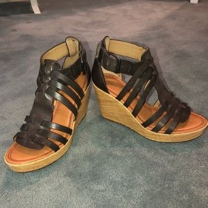 Trask Brown Wedges Size 8
